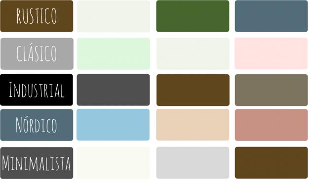 Paleta de colores de los estilos decorativos